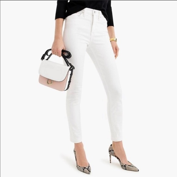 J Crew white high rise lookout stretch ankle skinny jeans size 30 b14